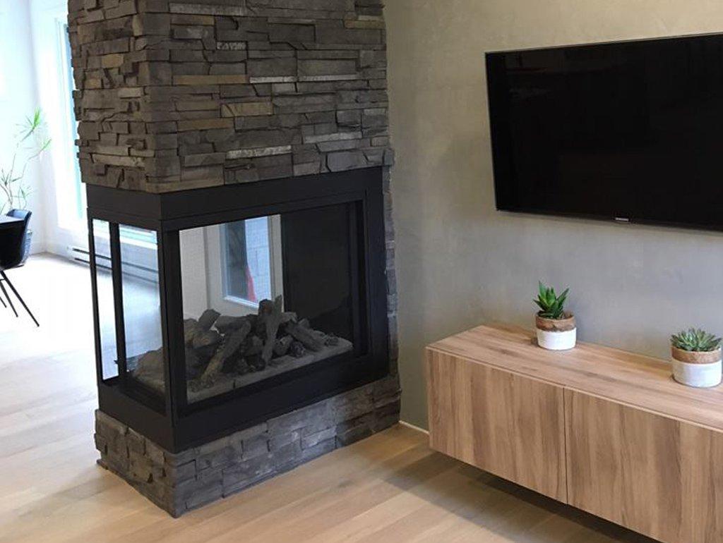intérieur de maison avec foyer et télé